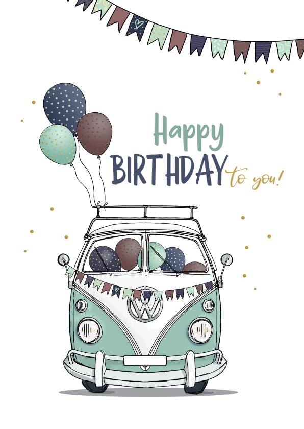 Verjaardagskaarten - Verjaardagskaart retro busje met ballonnen