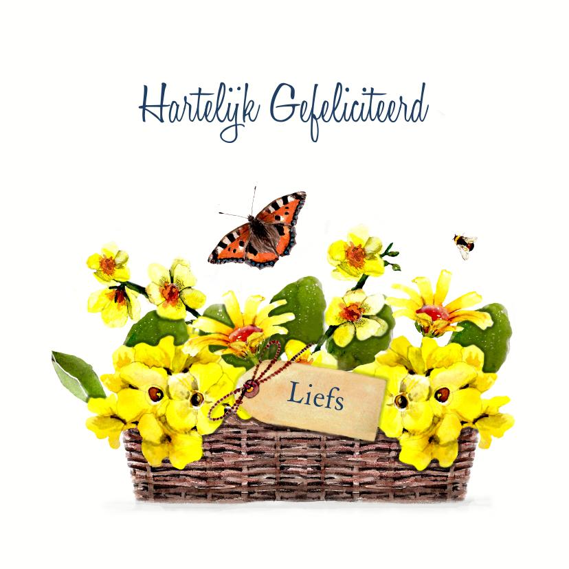 Verjaardagskaarten - Verjaardagskaart rieten mand met gele bloemen