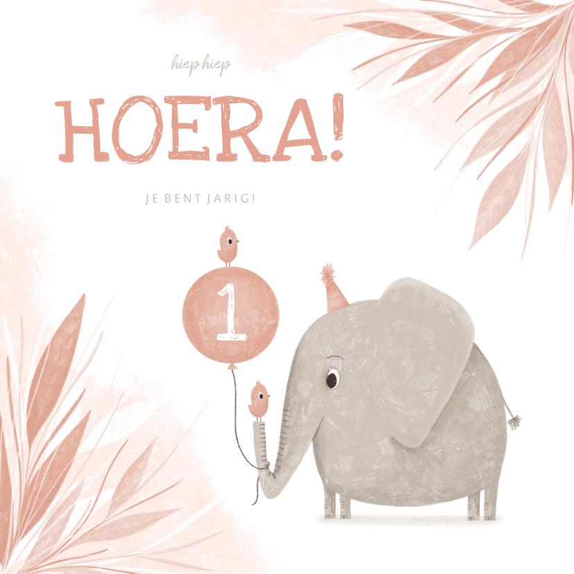 Verjaardagskaarten - Verjaardagskaart roze 1 jaar olifantje met vogel