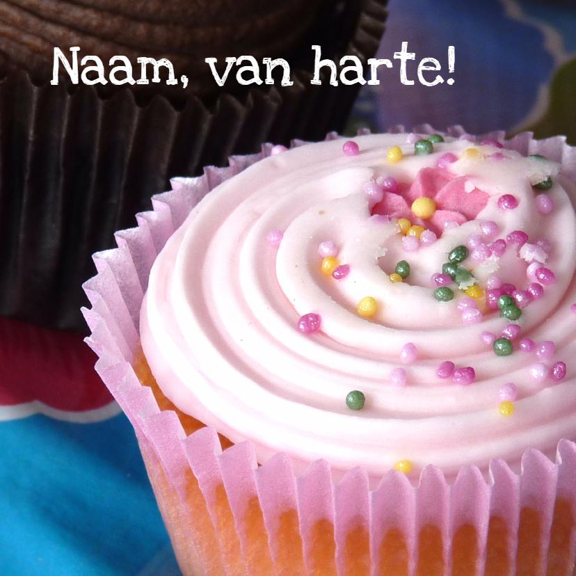 Verjaardagskaarten - Verjaardagskaart roze cupcake 2