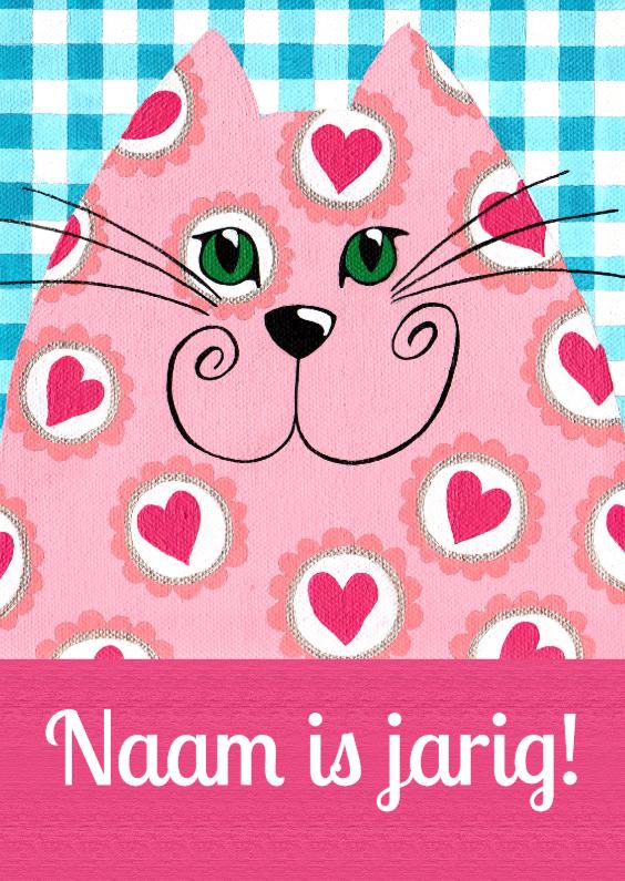 Verjaardagskaarten - Verjaardagskaart roze hartjeskat