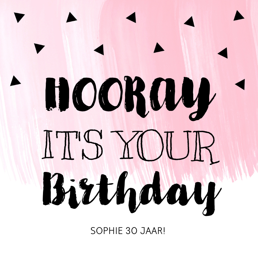 Verjaardagskaarten - Verjaardagskaart roze waterverf zwarte driehoekjes