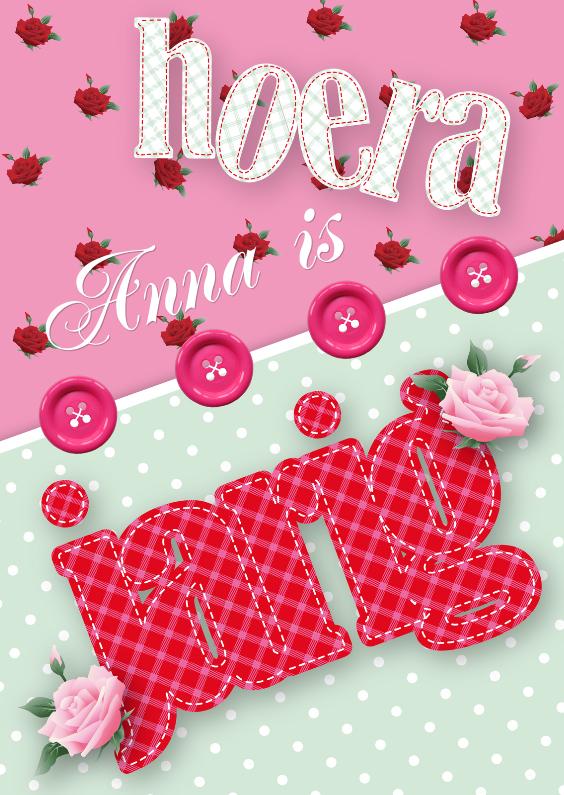 Verjaardagskaarten - Verjaardagskaart rozen stippen lief