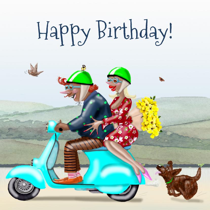 Verjaardagskaarten - Verjaardagskaart Samen op de scooter