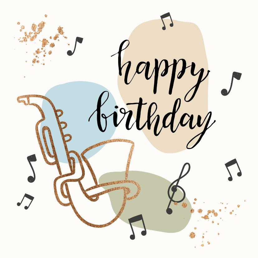Verjaardagskaarten - Verjaardagskaart - Saxofoon met muzieknoten