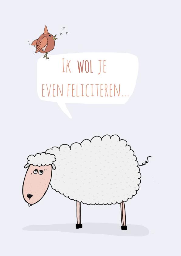 Verjaardagskaarten - Verjaardagskaart schaapje wol...