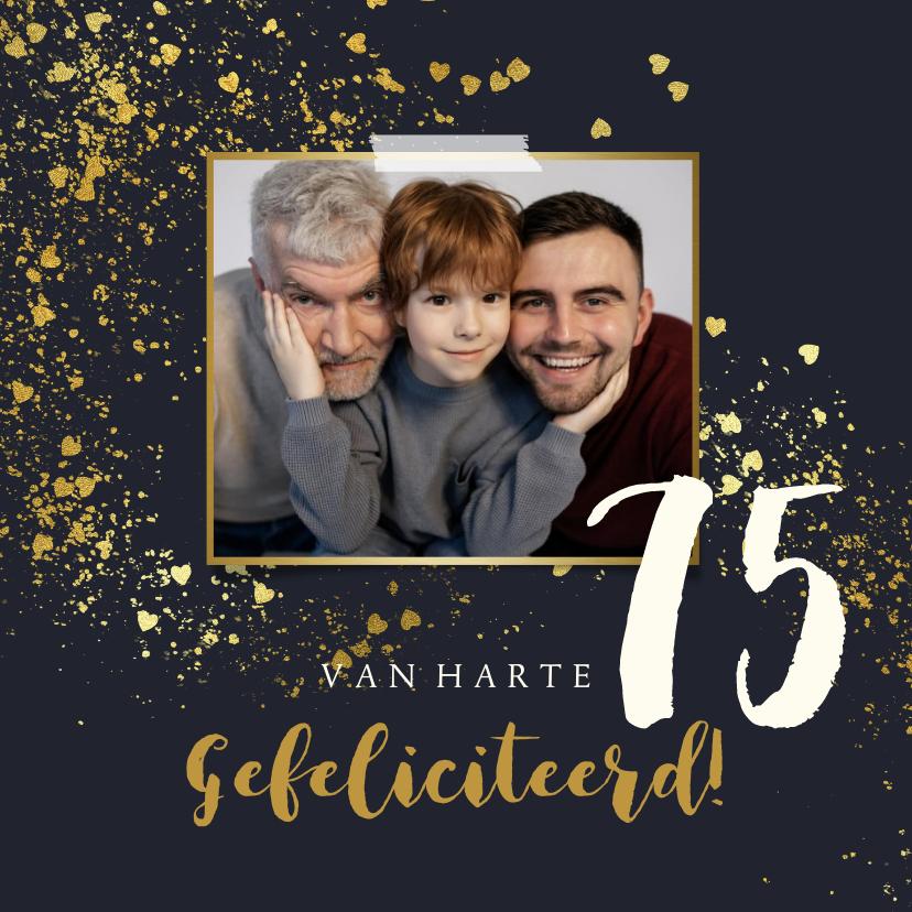 Verjaardagskaarten - Verjaardagskaart spetters hartjesconfetti goudlook foto