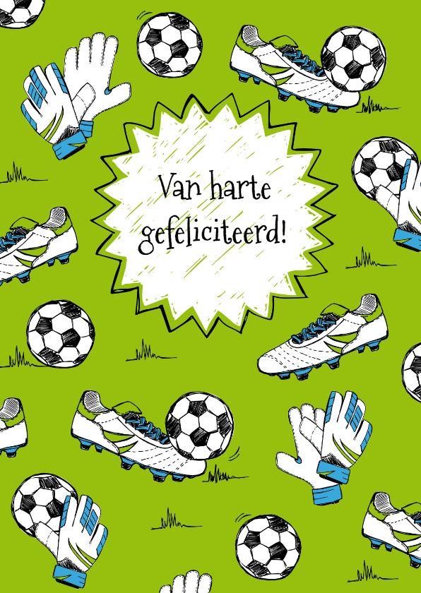 Verjaardagskaarten - Verjaardagskaart sport voetbal