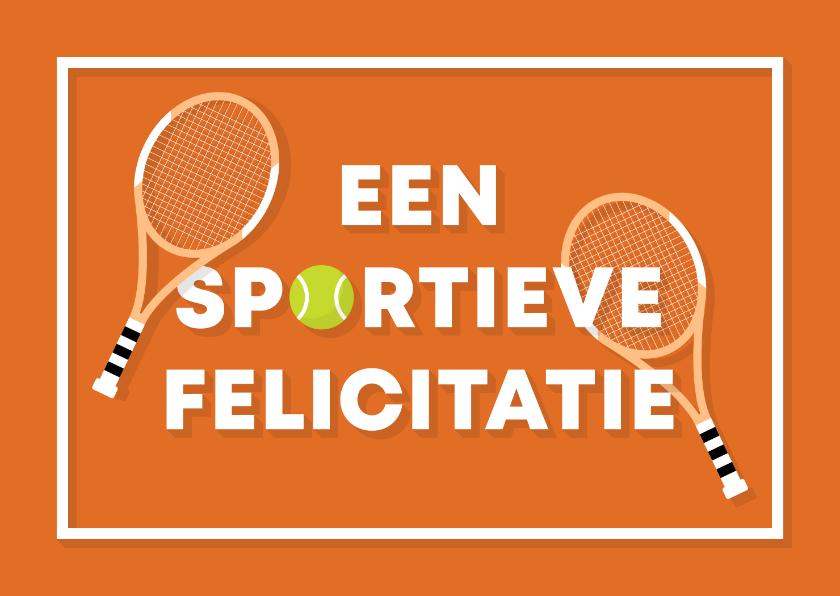 Verjaardagskaarten - Verjaardagskaart sportieve felicitatie tennis