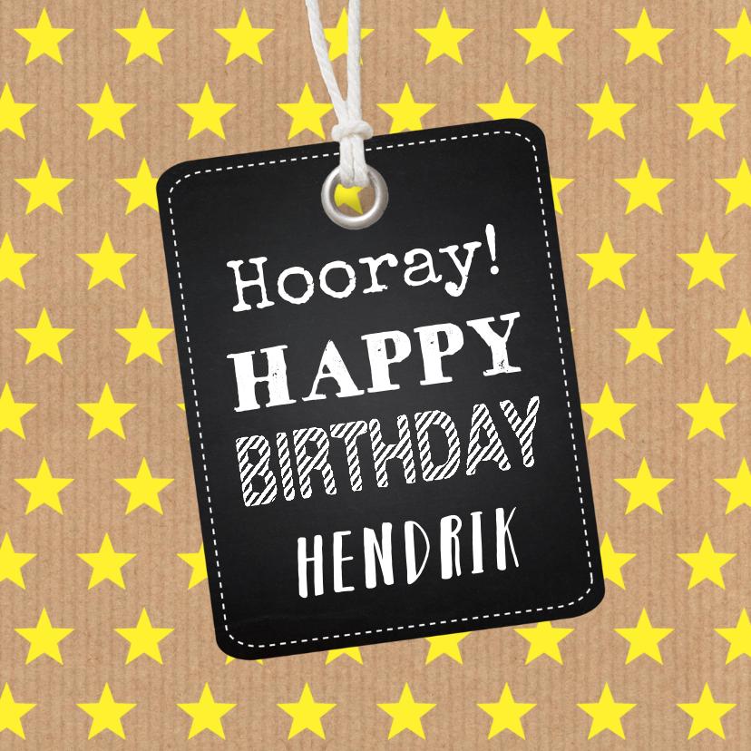 Verjaardagskaarten - Verjaardagskaart sterren geel labelprint