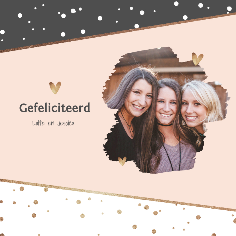 Verjaardagskaarten - Verjaardagskaart stijlvol confetti hartjes foto goud