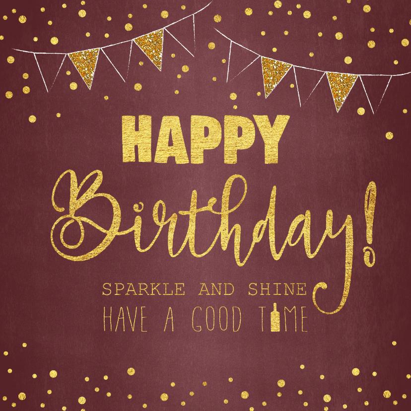 Verjaardagskaarten - Verjaardagskaart stijlvol rood confetti en slingers