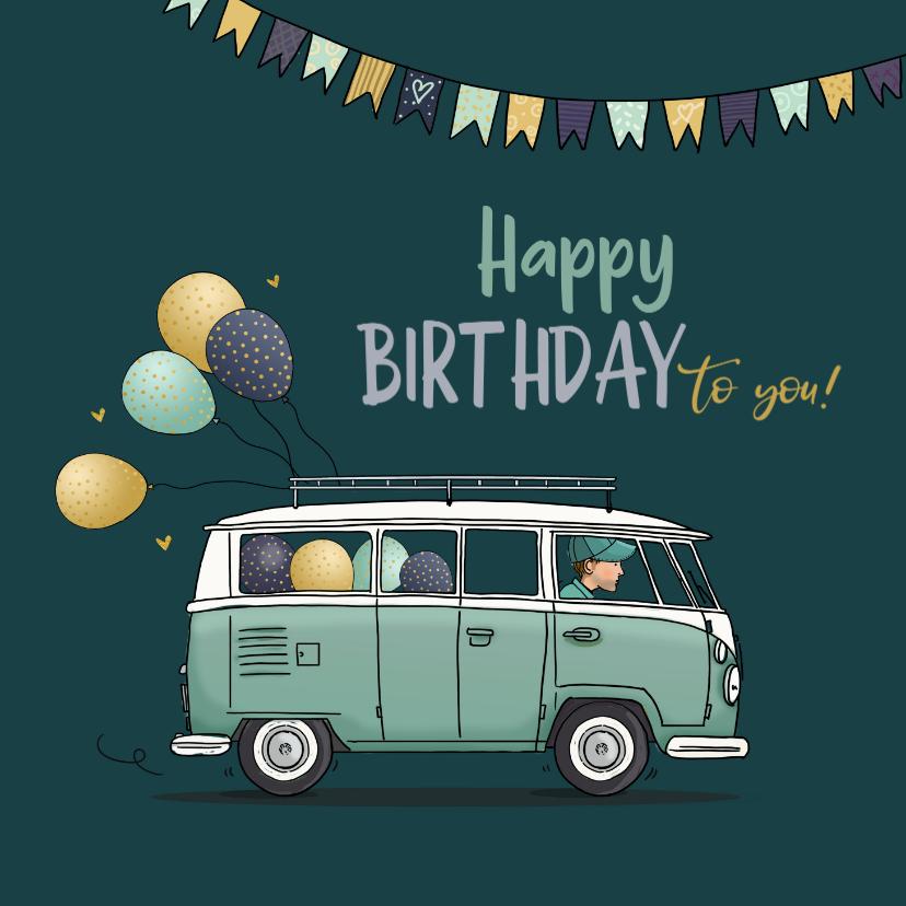 Verjaardagskaarten - Verjaardagskaart stoer busje