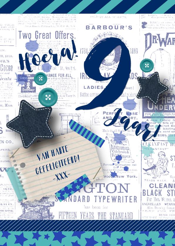 Verjaardagskaarten - Verjaardagskaart stoer sterren blauw en groen