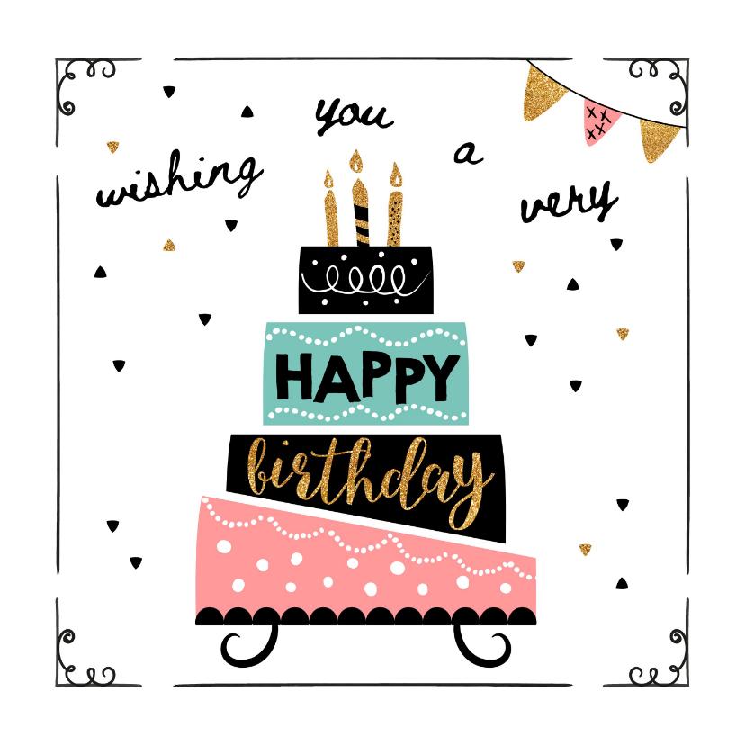 Verjaardagskaarten - Verjaardagskaart taart & confetti
