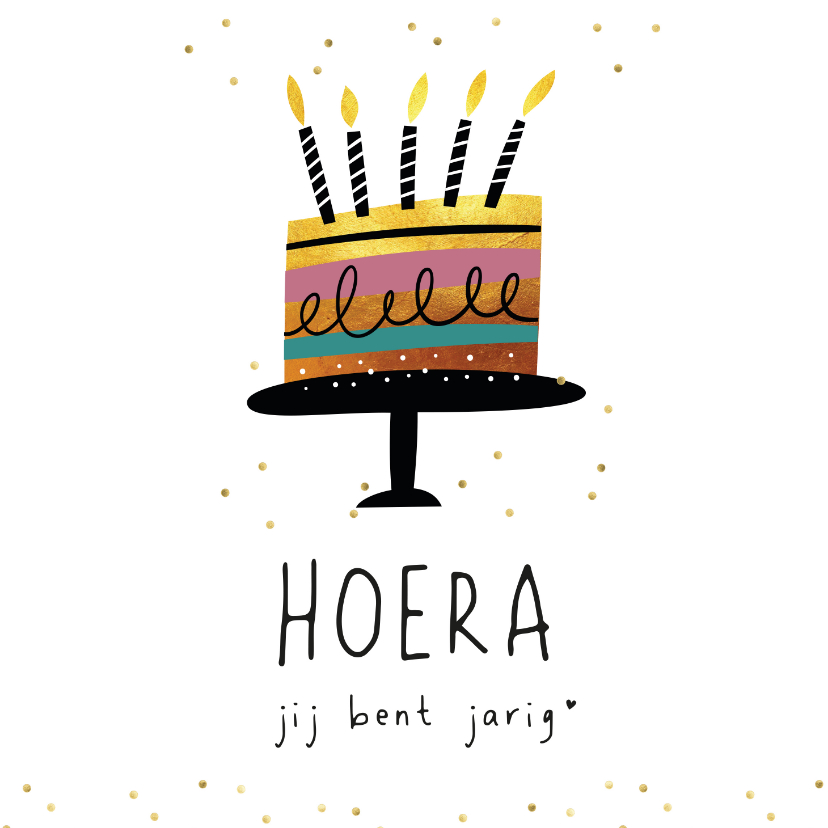 Verjaardagskaarten - Verjaardagskaart - taart hoera jij bent jarig