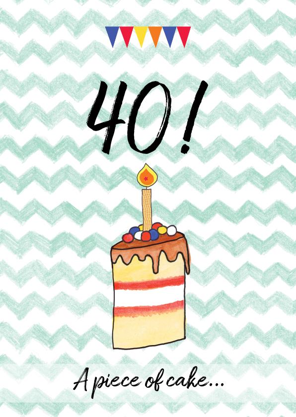 Verjaardagskaarten - verjaardagskaart taart leeftijd