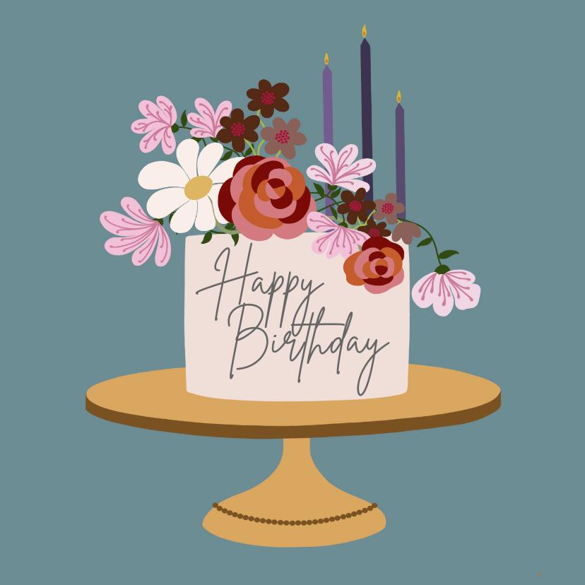 Verjaardagskaarten - Verjaardagskaart - taart met bloemen