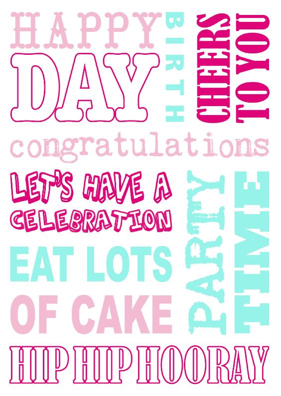 Verjaardagskaarten - Verjaardagskaart tekst roze mint