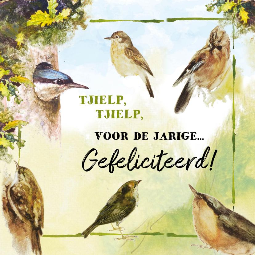 Verjaardagskaarten - Verjaardagskaart tjielpende vogels