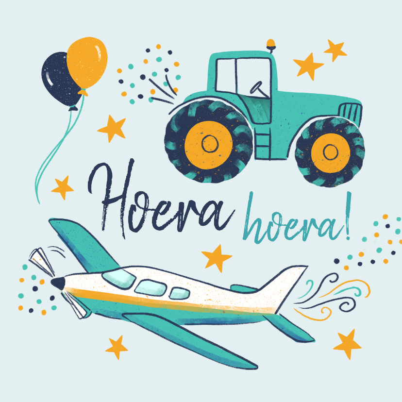Verjaardagskaarten - Verjaardagskaart trekker en vliegtuig