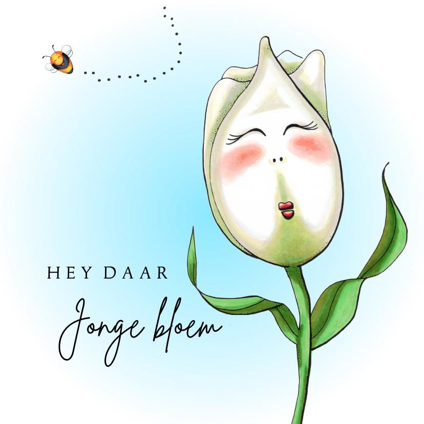 Verjaardagskaarten - Verjaardagskaart tulp jonge bloem