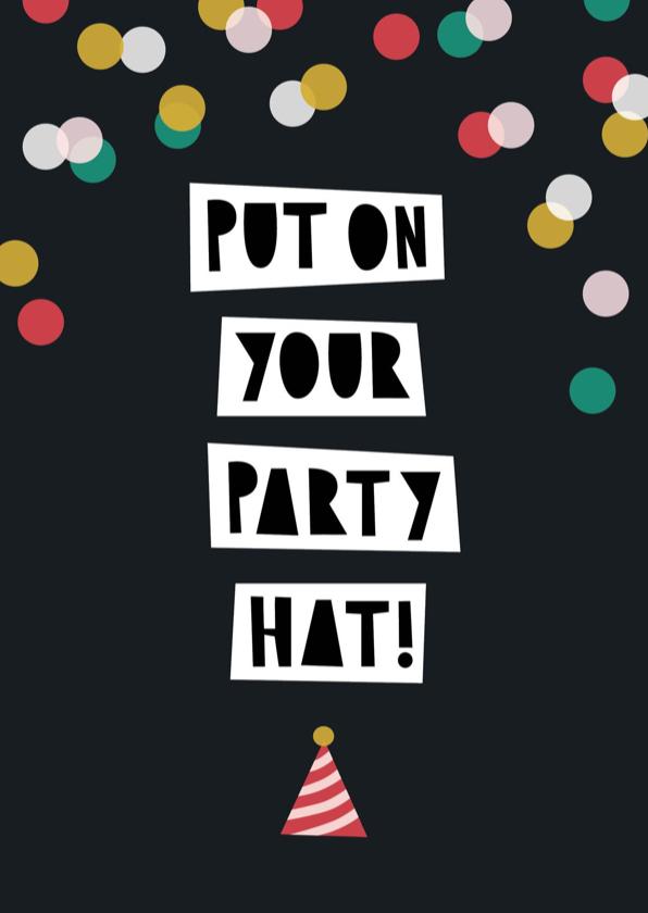Verjaardagskaarten - Verjaardagskaart typografie party hat