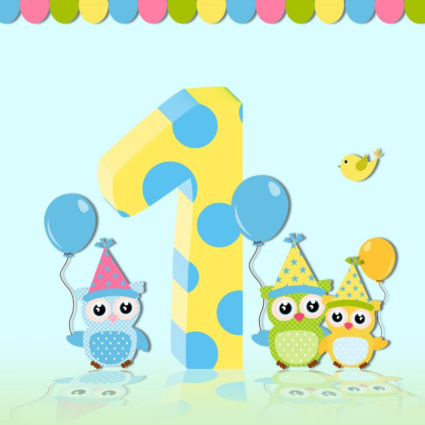 Verjaardagskaarten - Verjaardagskaart uil met ballonnen
