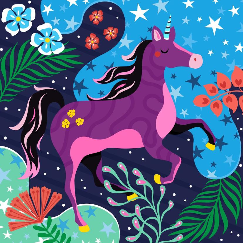 Verjaardagskaarten - Verjaardagskaart unicorn droomwereld