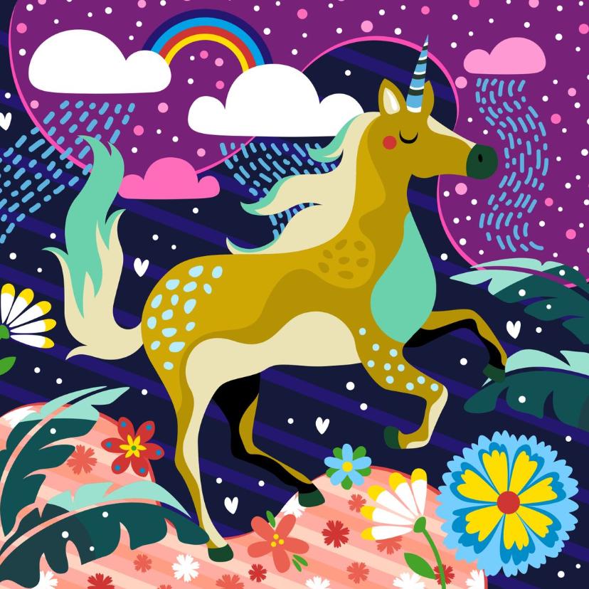 Verjaardagskaarten - Verjaardagskaart unicorn fantasiewereld