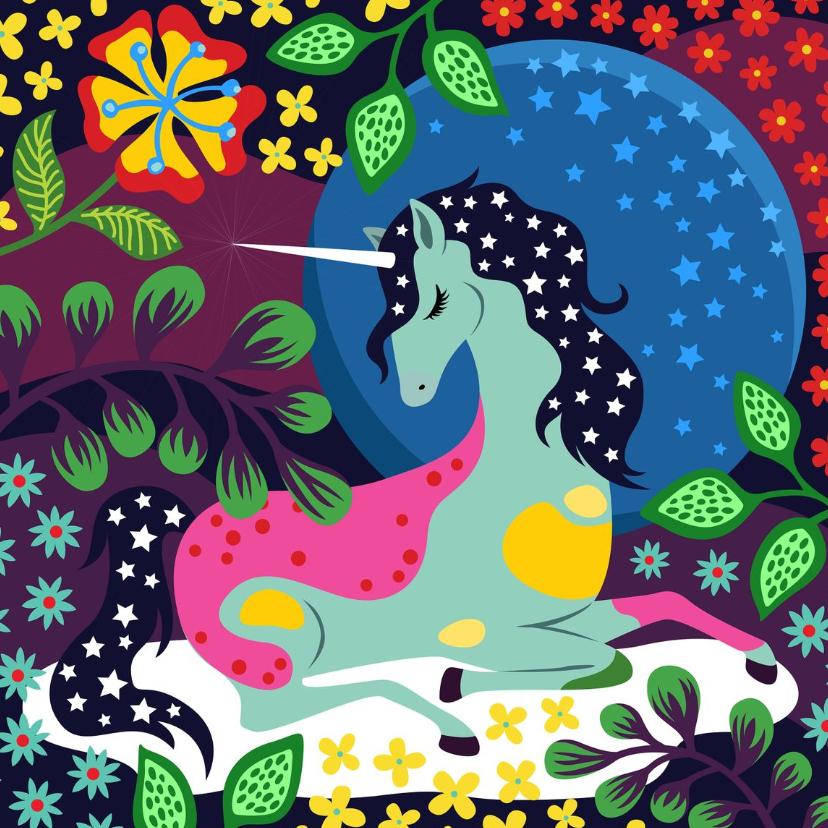 Verjaardagskaarten - Verjaardagskaart unicorn op een wolk