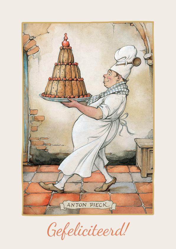 Verjaardagskaarten - Verjaardagskaart van Anton Pieck bakker met een grote taart