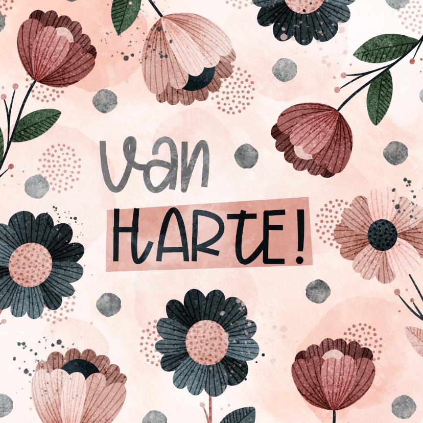 Verjaardagskaarten - Verjaardagskaart Van Harte met bloemen en confetti