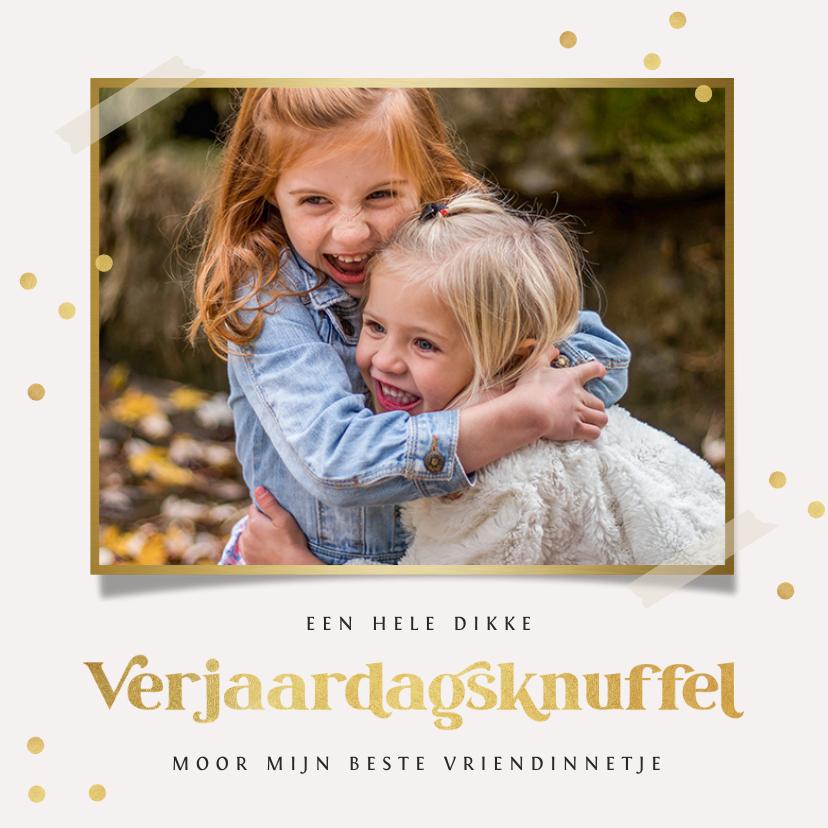 Verjaardagskaarten - Verjaardagskaart verjaardagsknuffel goud confetti foto