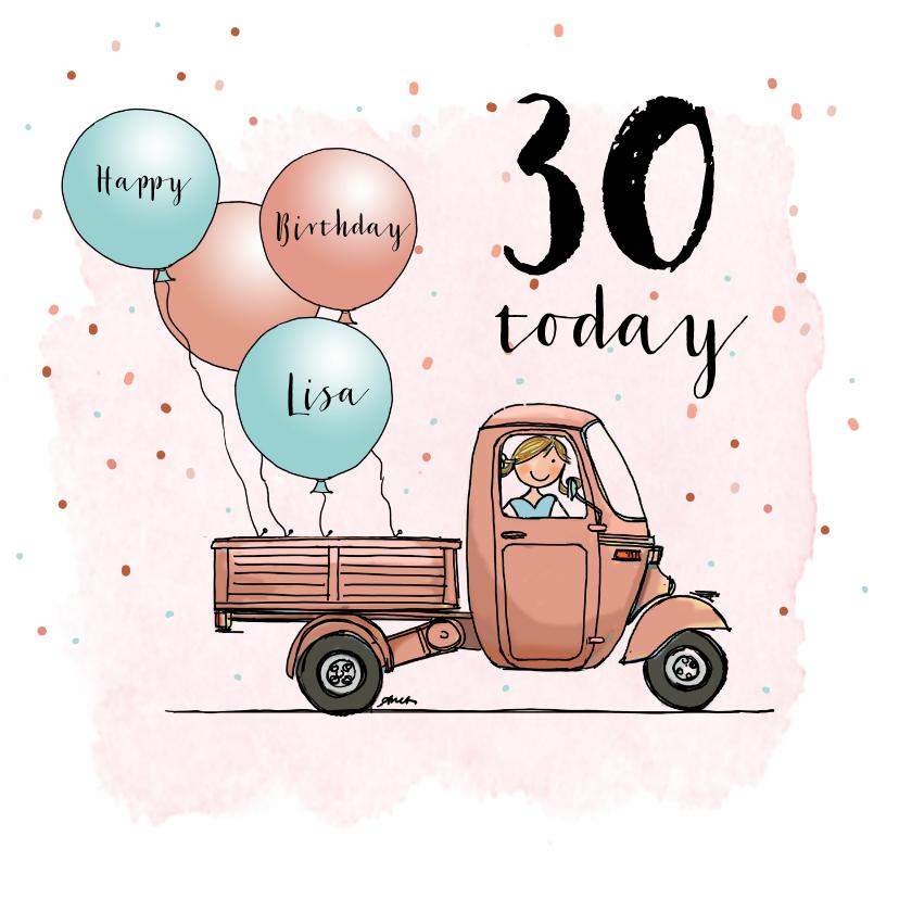 Verjaardagskaarten - Verjaardagskaart Vespa Ape ballon