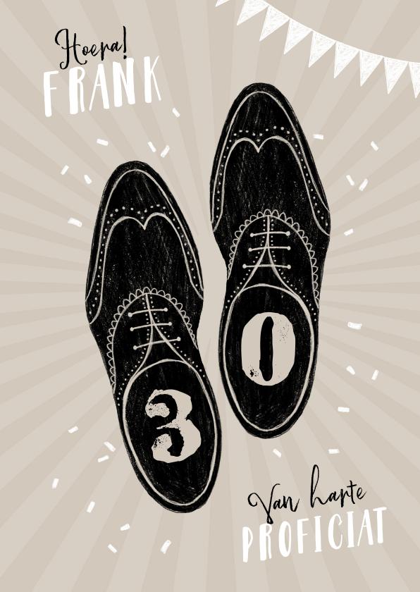 Verjaardagskaarten - Verjaardagskaart vintage man schoenen stijlvol feest