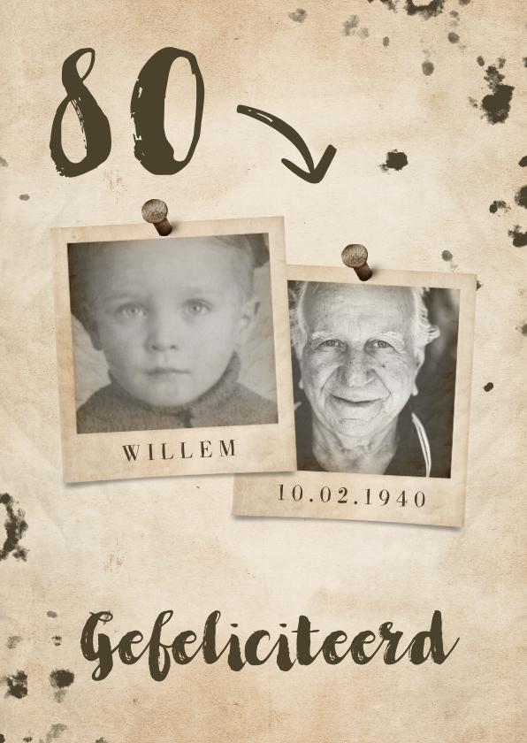 Verjaardagskaarten - Verjaardagskaart vintage met leeftijd en foto's