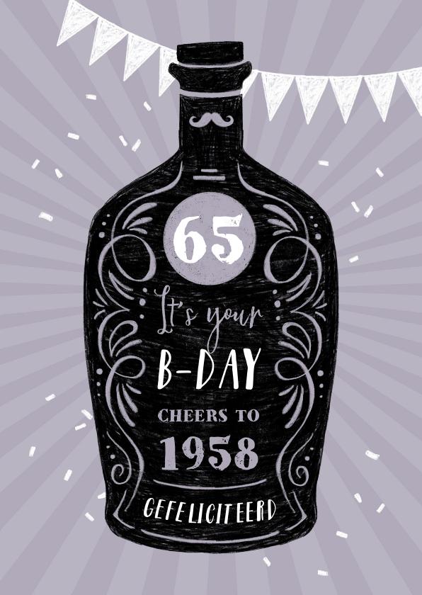 Verjaardagskaarten - Verjaardagskaart vintage whisky confetti paars