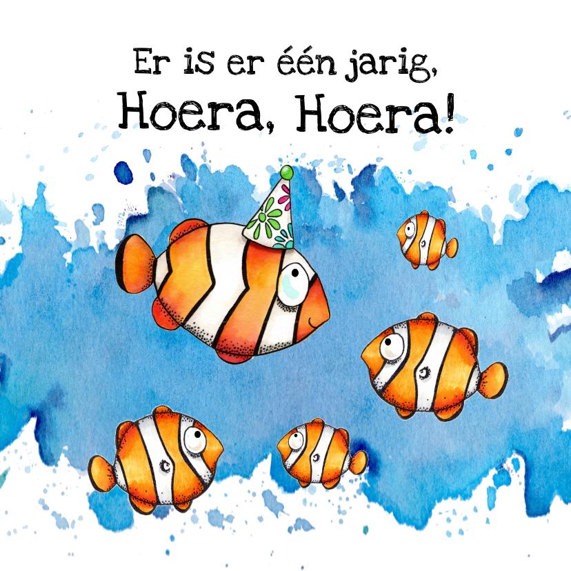 Verjaardagskaarten - Verjaardagskaart vis met feesthoed
