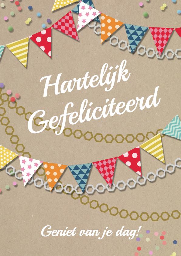 Verjaardagskaarten - Verjaardagskaart vlaggen confetti