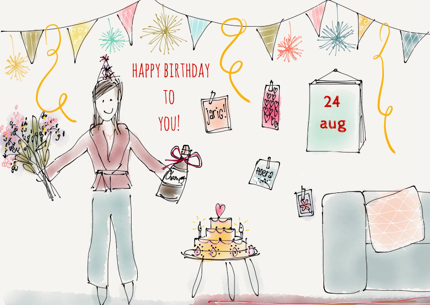Verjaardagskaarten - Verjaardagskaart Vlaggetjes