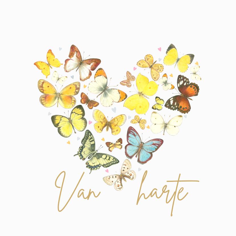 Verjaardagskaarten - Verjaardagskaart - Vlinders in hart vorm