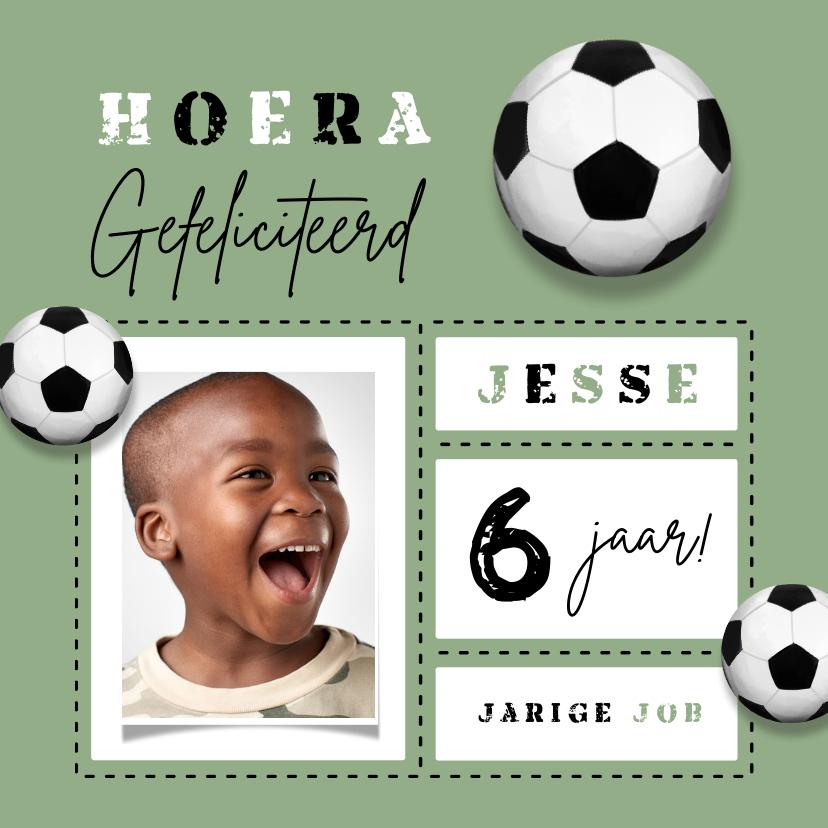 Verjaardagskaarten - Verjaardagskaart voetbal kind gefeliciteerd foto