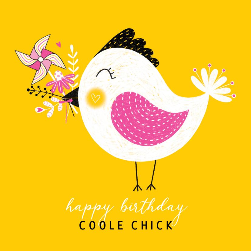 Verjaardagskaarten - Verjaardagskaart vogel bloemen geel / roze