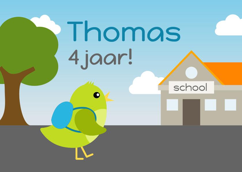 Verjaardagskaarten - verjaardagskaart vogel jongen gaat naar school - DD