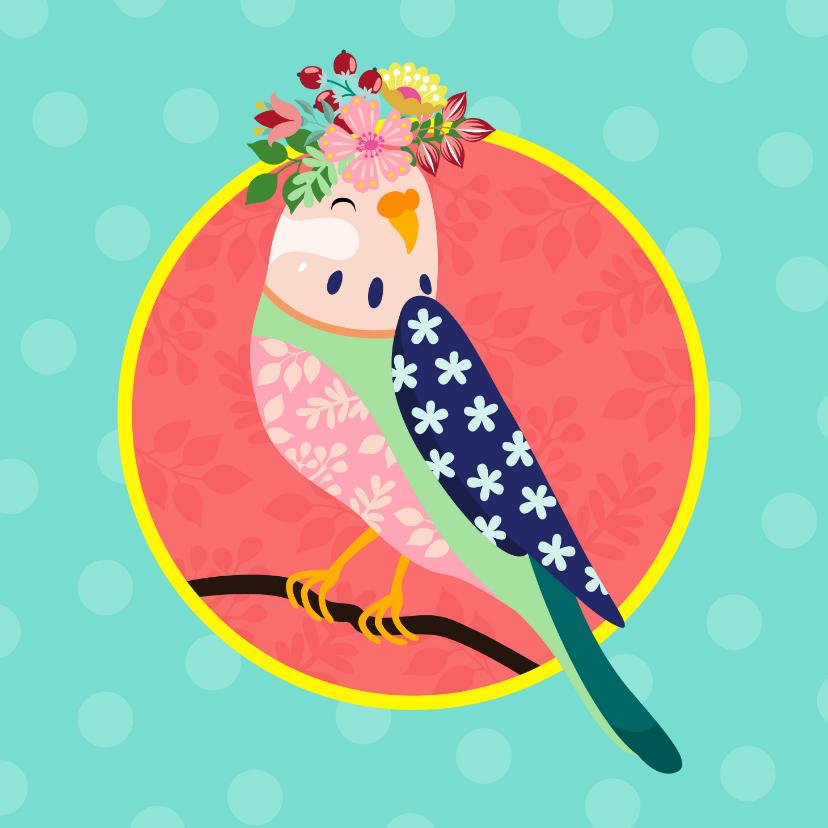 Verjaardagskaarten - Verjaardagskaart vogel met bloementooi