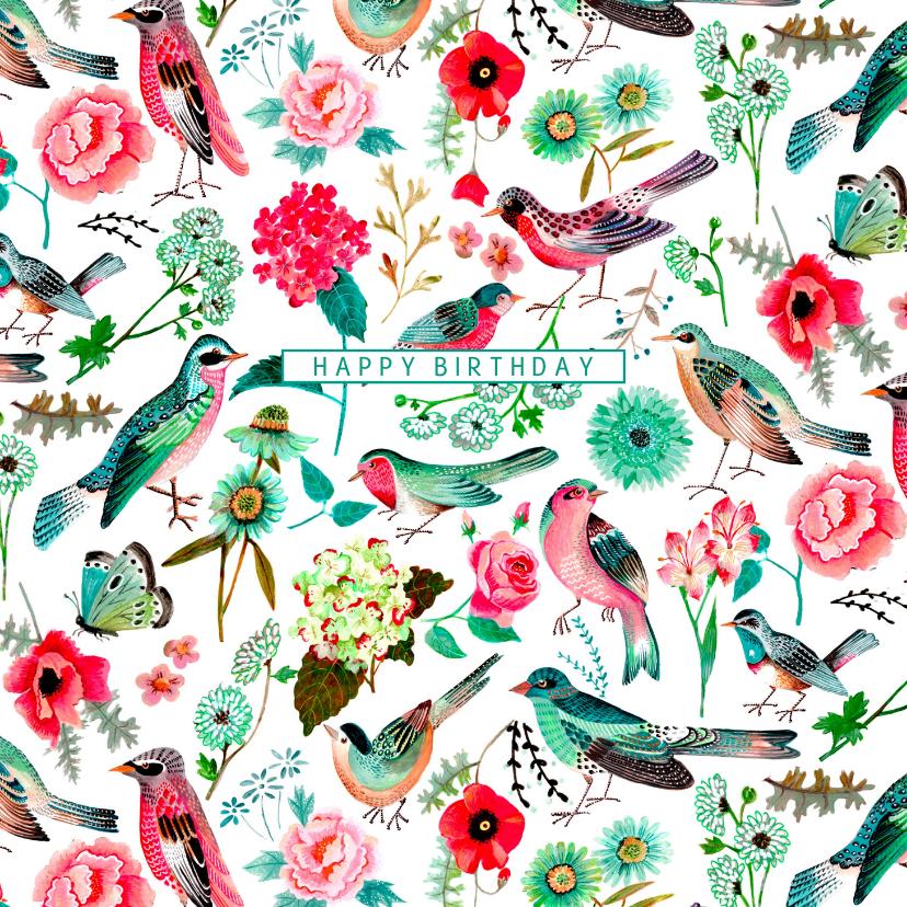 Verjaardagskaarten - Verjaardagskaart vogels pattern botanisch bloemen