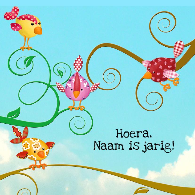 Verjaardagskaarten - Verjaardagskaart vogeltjes op tak