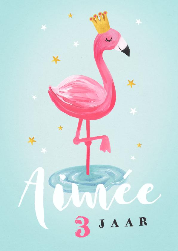 Verjaardagskaarten - Verjaardagskaart voor een meisje met flamingo
