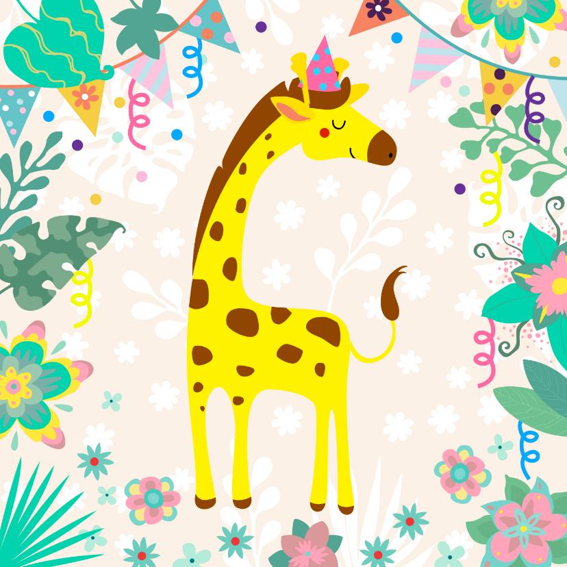 Verjaardagskaarten - Verjaardagskaart voor kind met vrolijke giraf en slingers